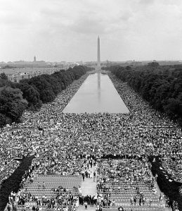 View from the Lincoln Memorial toward the Washington Monument on August 28, 1963.  Photo courtesy of Wikipedia.